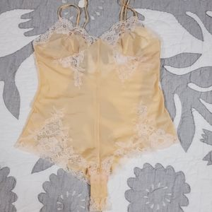 Victorias Secret peach silk onesie S
